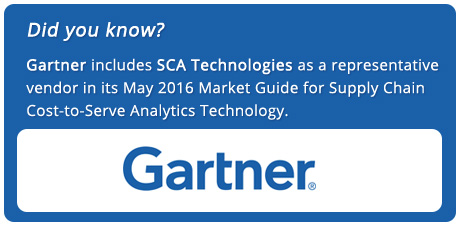 Gartner includes SCA Technologies as a representative vendor in its May 2016 Market Guide for Supply Chain Cost-to-Serve Analytics Technology.